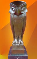 ART DECO CUBIST STYLISED BRONZE OWL